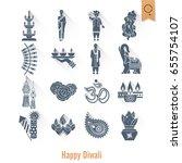 diwali. indian festival icons....   Shutterstock .eps vector #655754107