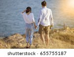 couples of younger man and... | Shutterstock . vector #655755187