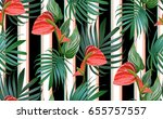 Tropical Flowers And Palm...