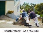 famous toboggan riders moving... | Shutterstock . vector #655759633