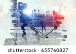 hockey players on ice | Shutterstock . vector #655760827