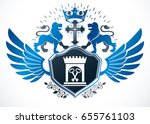 heraldic sign composed with... | Shutterstock .eps vector #655761103