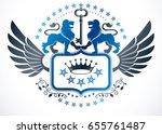 heraldic sign created using... | Shutterstock .eps vector #655761487