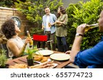 view at happy friends grilling... | Shutterstock . vector #655774723