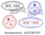 new york mail stamps collection.... | Shutterstock . vector #655789747