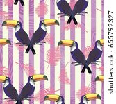 toucan pattern  vector ... | Shutterstock .eps vector #655792327