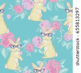 rabbit  pattern  vector ...   Shutterstock .eps vector #655813297