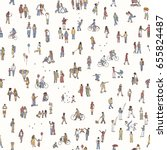 seamless pattern of tiny people ... | Shutterstock .eps vector #655824487
