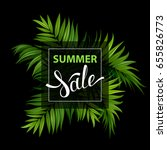sale banner with green tropical ... | Shutterstock .eps vector #655826773