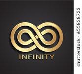 3d golden stylized infinity logo | Shutterstock .eps vector #655828723