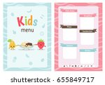 kids menu card with cartoon... | Shutterstock .eps vector #655849717