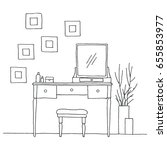 dressing table in sketch style. ... | Shutterstock .eps vector #655853977