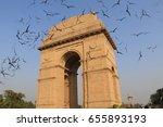 birds flying on delhi gate ... | Shutterstock . vector #655893193