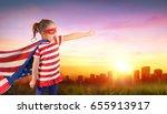 little girl superhero of usa... | Shutterstock . vector #655913917