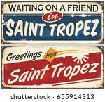 saint tropez retro signs set on ... | Shutterstock .eps vector #655914313
