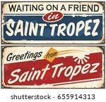 saint tropez retro signs set on ... | Shutterstock .eps vector #655914313