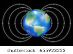 earth planet with magnetic... | Shutterstock .eps vector #655923223