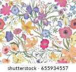 Stock vector beautiful seamless floral pattern flower vector illustration field of flowers 655934557