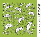 chameleon collection  sketch... | Shutterstock .eps vector #655936537
