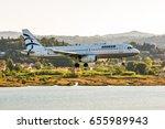 Small photo of Corfu island, Greece - July 24, 2014: Modern passenger airplane Airbus A320 Aegean airlines landing at Corfu Ioannis Kapodistrias international airport.