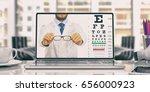 workspace. eye vision test on... | Shutterstock . vector #656000923
