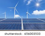solar panels and wind turbines... | Shutterstock . vector #656003533