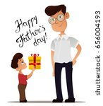happy fathers day greeting card.... | Shutterstock .eps vector #656004193