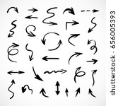 hand drawn arrows  vector set | Shutterstock .eps vector #656005393