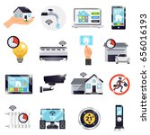 isolated smart home icon set... | Shutterstock .eps vector #656016193