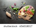 colorful herbs spices and fresh ... | Shutterstock . vector #656018017