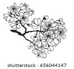 hand drawn and outline cherry... | Shutterstock .eps vector #656044147