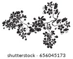 hand drawn cherry branches... | Shutterstock .eps vector #656045173