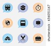 set of 9 editable education... | Shutterstock .eps vector #656051167