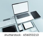 modern office workplace with... | Shutterstock . vector #656053213