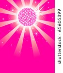 Pink Mirror Disco Ball - stock vector