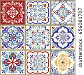 collection of 9 ceramic tiles... | Shutterstock .eps vector #656081707