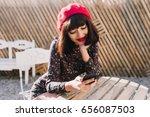 charming brunette girl in... | Shutterstock . vector #656087503