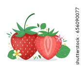 strawberry with plants and... | Shutterstock .eps vector #656090077