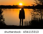 silhouette of a female person... | Shutterstock . vector #656115313