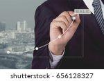 businessman write line graph... | Shutterstock . vector #656128327