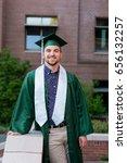 college grad on campus in oregon | Shutterstock . vector #656132257