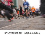 marathon street runners with... | Shutterstock . vector #656132317