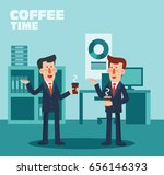 two business persons drinking... | Shutterstock .eps vector #656146393