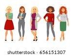 set women fashion office dress... | Shutterstock . vector #656151307