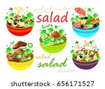 set of salades. mushroom  meat  ... | Shutterstock .eps vector #656171527