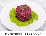 salad with beets  dried plums ... | Shutterstock . vector #656177737