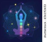 human silhouette meditating or... | Shutterstock .eps vector #656192653