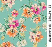 sketched flower print in bright ... | Shutterstock .eps vector #656196433
