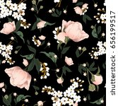 Stock photo pretty pink green black graphic rose floral seamless pattern in repeat 656199517