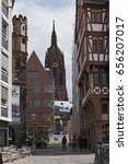 Small photo of FRANKFURT, GERMANY-JUNE 07, 2017: Dom, Roemer Project, remake the old city center,Frankfurt, Germany